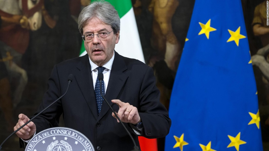 "Italian Prime Minister Paolo Gentiloni speaks at a news conference in Rome. The country's foreign minister, Angelino Alfano, said in a statement that the US military action in Syria was ""proportionate and well-timed."""