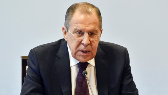 "Russian Foreign Minister Sergey Lavrov speaks on Friday, April 7, during a news conference in Tashkent, Uzbekistan. Responding to a US missile strike on a Syrian airbase, he said, ""I am particularly disappointed by the way this damages US-Russia relations. I don't think this will lead to an irreversible situation."""