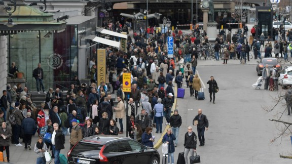 "Police evacuate Stockholm Central Train Station  after a truck crashed into a department store injuring several people in a different part of Stockholm, Sweden, Friday April 7, 2017. Swedish Prime Minister Stefan Lofven says everything indicates a truck that has crashed into a major department store in downtown Stockholm is ""a terror attack."" (Anders Wiklund/ TT News Agency via AP)"