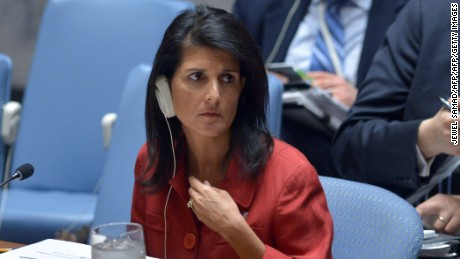 US Ambassador to the UN and UN security council president, Nikki Haley listens during an United Nations Security Council meeting on Syria, at the UN headquarters in New York on April 7, 2017. / AFP PHOTO / Jewel SAMAD        (Photo credit should read JEWEL SAMAD/AFP/Getty Images)