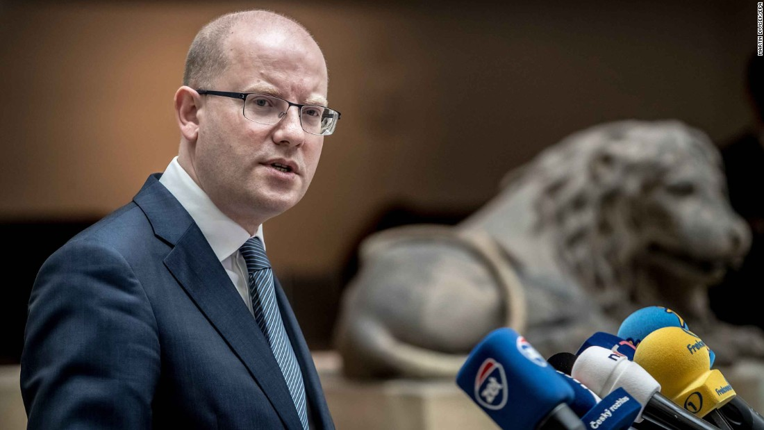 Czech Prime Minister Bohuslav Sobotka holds a news conference in Prague, Czech Republic. Sobotka expressed his support for President Trump's launch of missile strikes.