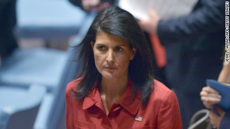 US Ambassador to UN and current UN security council president, Nikki Haley leaves after presiding a United Nations Security Council meeting on Syria, at the UN headquarters in New York on April 7, 2017. / AFP PHOTO / Jewel SAMAD        (Photo credit should read JEWEL SAMAD/AFP/Getty Images)