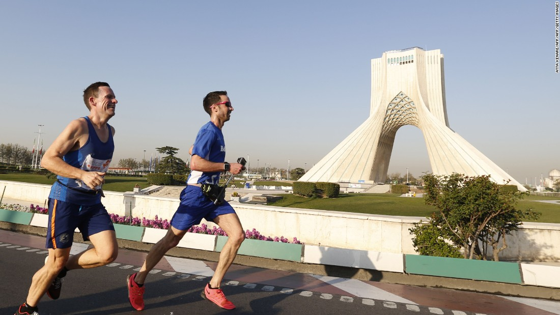 Athletes began the marathon at the city's Azadi Stadium and also passed the Azadi Tower, one of Iran's most famous landmarks. Local authorities blocked the roads in order for the event to take place.
