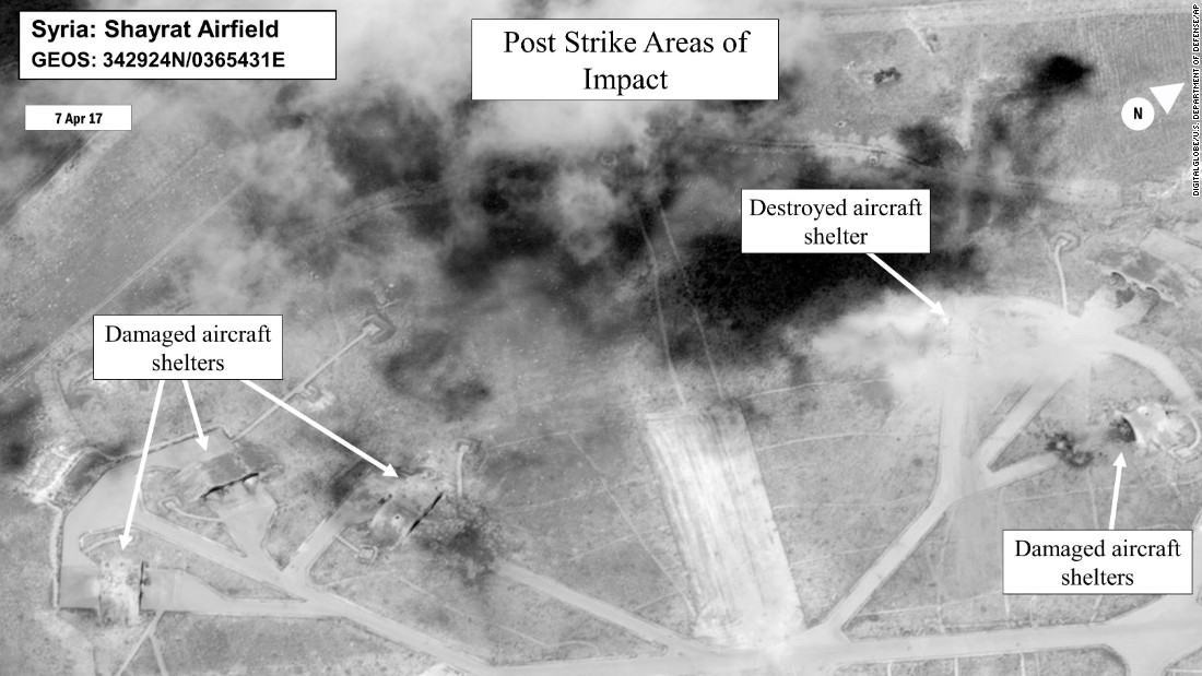 This satellite image, released by the US Department of Defense, is a damage assessment photo of the Shayrat airfield.
