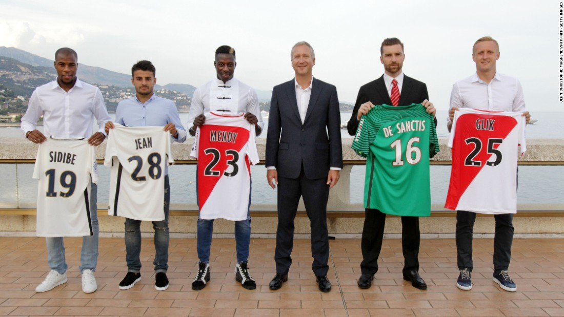Vasilyev (C) is pictured with Monaco players Djibril Sidibe, Corentin Jean (currently on loan at Toulouse), Benjamin Mendy, Morgan de Sanctis and Kamil Glik.