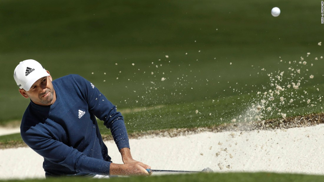 Garcia hits out of a bunker on Friday. He shot a 3-under 69.