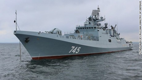 The Russian frigate, the Admiral Grigorovich. The ship, which is armed with cruise missiles, was reportedly entering the Mediterranean en route to a logistics site in Syria, Russian state media said.