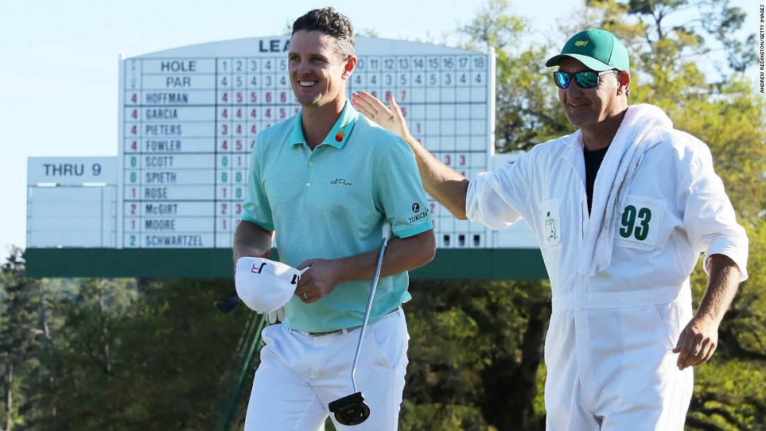 Olympic champion Justin Rose of England fires a third-round 67 to reach six under and take a share of the lead with Sergio Garcia into the final round of the Masters on Sunday.