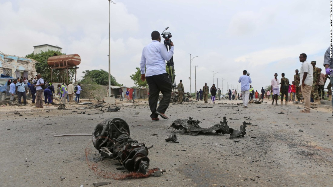 A transmission lies on the ground near the scene of the bombing.