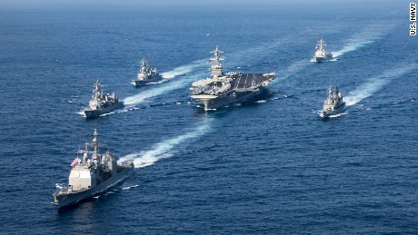 US puts three aircraft carriers in Asia-Pacific