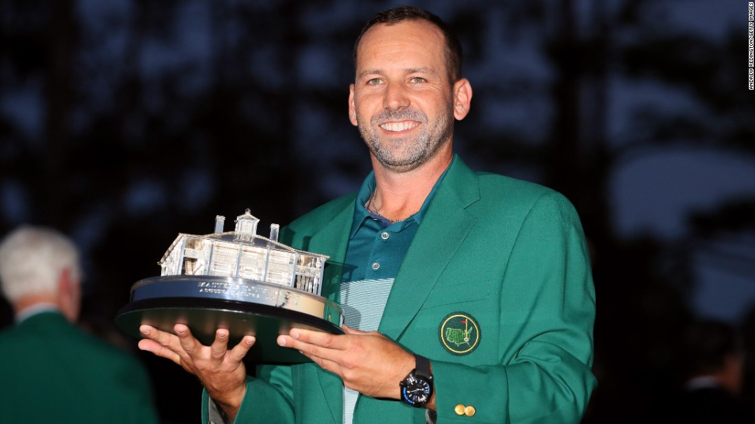 Sergio Garcia of Spain celebrates with the Masters Trophy during the Green Jacket ceremony after he won in a playoff during the final round of the 2017 Masters Tournament at Augusta National Golf Club on Sunday, April 9, in Augusta, Georgia.