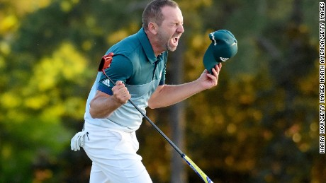 Sergio Garcia of Spain celebrates after defeating Justin Rose  of England on the first playoff hole