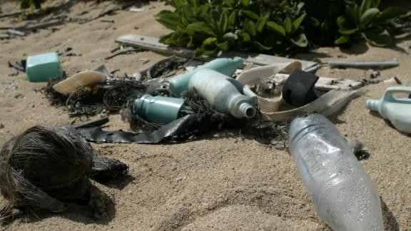 Plastic litter on Kahuku beach, Hawaii