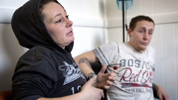 Allyson and Eddie, clients at the AAC Needle Exchange and Overdose Prevention Program in Cambridge, Mass., say they carry naloxone and try to never use drugs alone to reduce the risk of overdosing. (Robin Lubbock for WBUR)