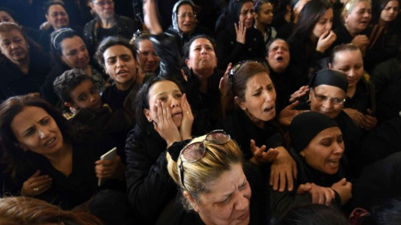 Mourners in Alexandria at a funeral for the blast victims.