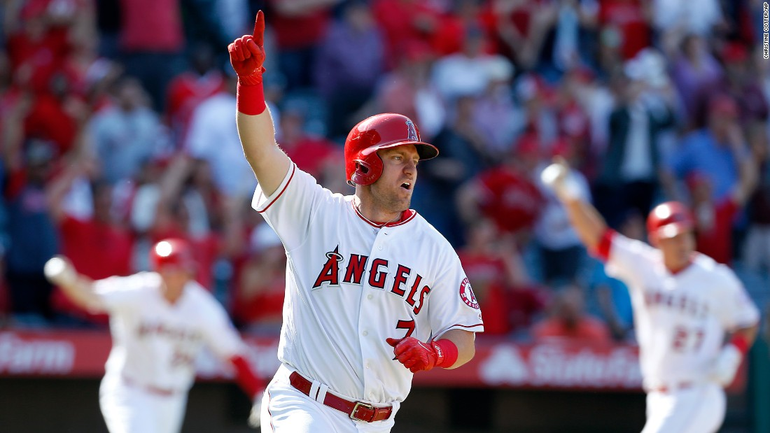 Cliff Pennington, an infielder with the Los Angeles Angels, celebrates his walk-off hit against Seattle on Sunday, April 9.