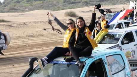Chaplin and Fabre rolling in to Essaouira after completing the rally.