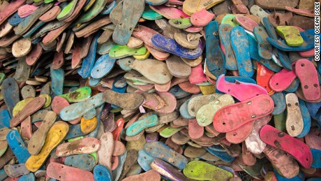 Millions of discarded flip flops pose a hazard to ocean life