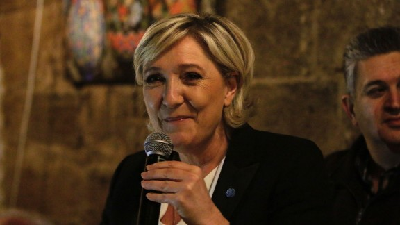 Head of the French far-right party Front National and presidential candidate Marine Le Pen speaks during a dinner in the coastal city of Byblos on February 19, 2017, during her visit to Lebanon.