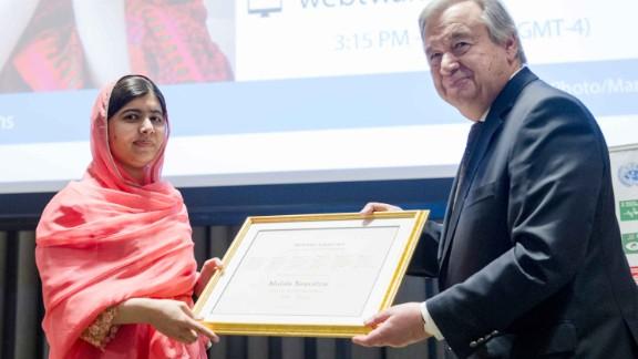 Malala Yousafzai was named UN Messenger of Peace by UN Secretary-General Antonio Guterres.