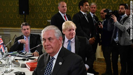 From left : German Foreign Minister Sigmar Gabriel, US Secretary of State Rex Tillerson and British Foreign Secretary Boris Johnson sit at a table on the second day of a meeting of Foreign Affairs Ministers from the Group of Seven (G7) industrialised countries on April 11, 2017 in Lucca, Tuscany.   / AFP PHOTO / Vincenzo PINTO        (Photo credit should read VINCENZO PINTO/AFP/Getty Images)