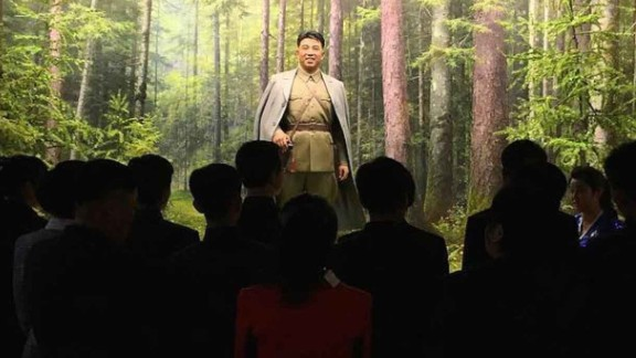 North Koreans observe a statue of their founder, Kim Il Sung, at the Museum of the Korean Revolution on April 10. CNN