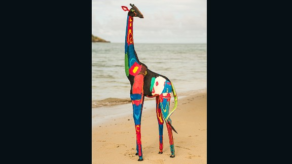 Since then, the collective's flip flop sculptures have ranged from handheld creations to an 18-foot life-sized giraffe.