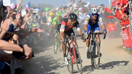 Zdenek Stybar, Greg Van Avermaet and Sebastian Langeveld are pictured in a breakaway.