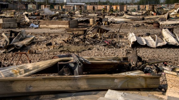 All that was left of the huts at the Grande-Synthe migrant camp Tuesday.