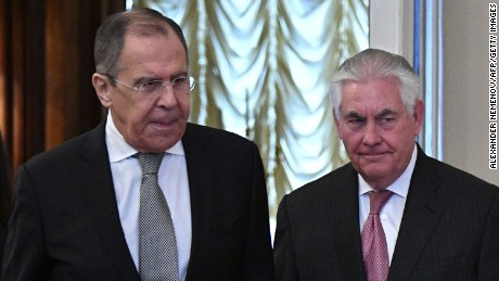 Russian Foreign Minister Sergei Lavrov. left, with US Secretary of State Rex Tillerson in Moscow on Wednesday.