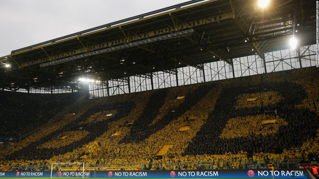 Dortmund's famed 'yellow wall' -- Europe's largest free standing terrace which holds 25,000 fans -- was subdued in the first half as Dortmund struggled against Monaco in their Champions League first-leg tie.