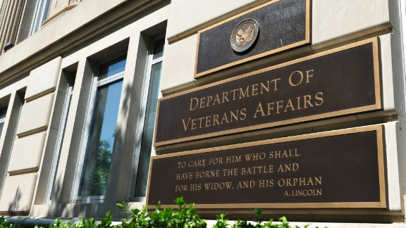 A sign in front of the Veterans Affairs building in Washington, DC.