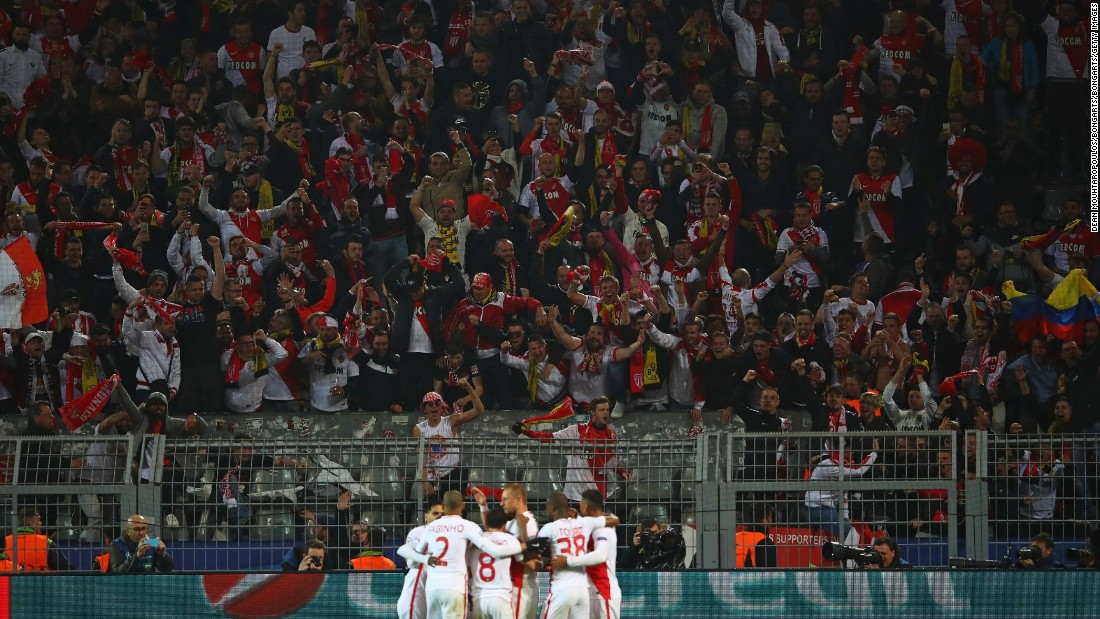 Monaco fans -- praised for their show of support to Dortmund following Tuesday's attack -- celebrated after Mbappe scored his team's third goal -- a brilliant long-range strike into the top corner.