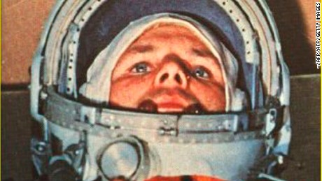 This 12 April, 1961 file photo shows Soviet cosmonaut Yuri Alexeyevich Gagarin in the Vostok 1 command capsule. Gagarin became the first man in space. Gagarin orbited earth one time at an altitude of 187 3/4 miles (302 kilometers) for 108 minutes at 18,000 miles an hour. AFP PHOTO / AFP / HO / -        (Photo credit should read -/AFP/Getty Images)