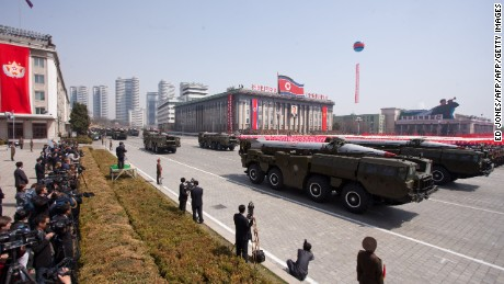 North Korea's KN-08 purported intercontinental ballistic missiles seen in a parade on April 15, 2012.