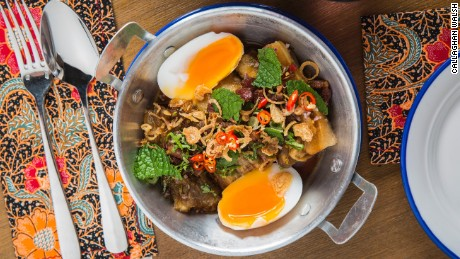 Soul Food's eggplant salad with duck egg, make with ingredients sourced from the  Or Tor Kor Market in Bangkok.