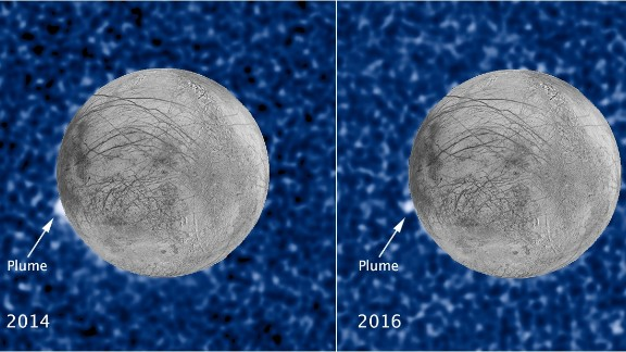 These composite images show a suspected plume of material erupting two years apart from the same location on Jupiter