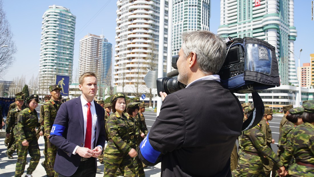 CNN's Will Ripley and David Hawley filming in Pyongyang.