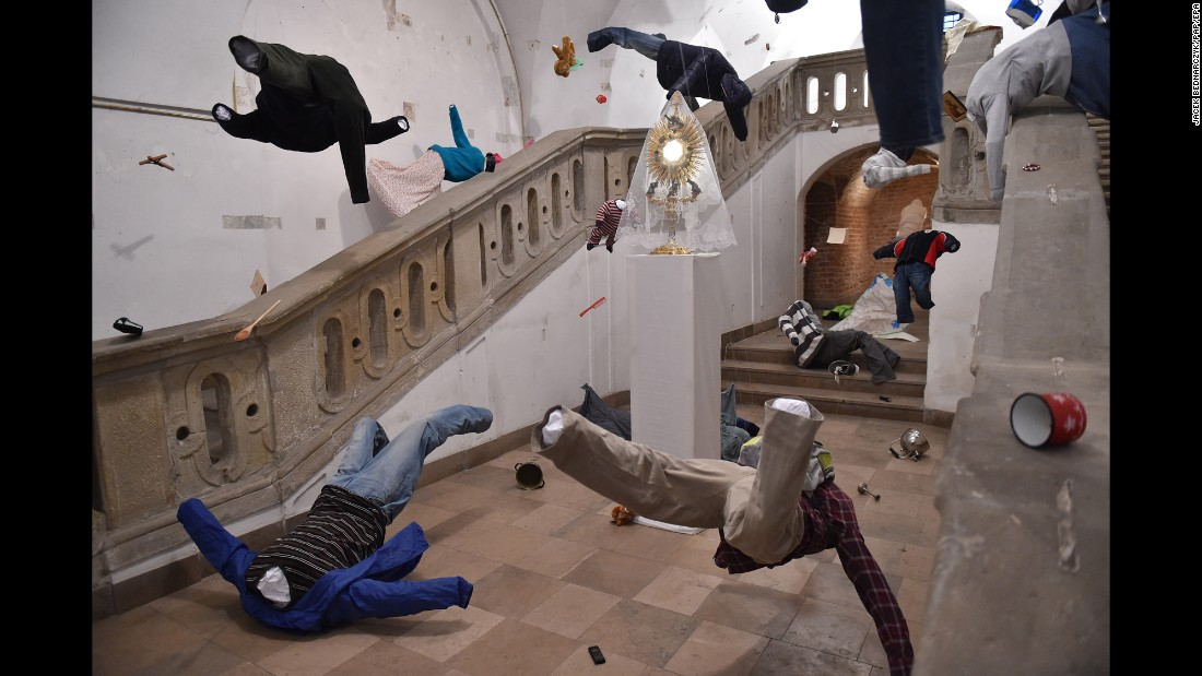 An art installation by Jakub Zawadzinski is seen in the crypt of the Piarist church in Krakow, Poland, on Thursday, April 13. The installation is meant to symbolize the plight of refugees from the Middle East.