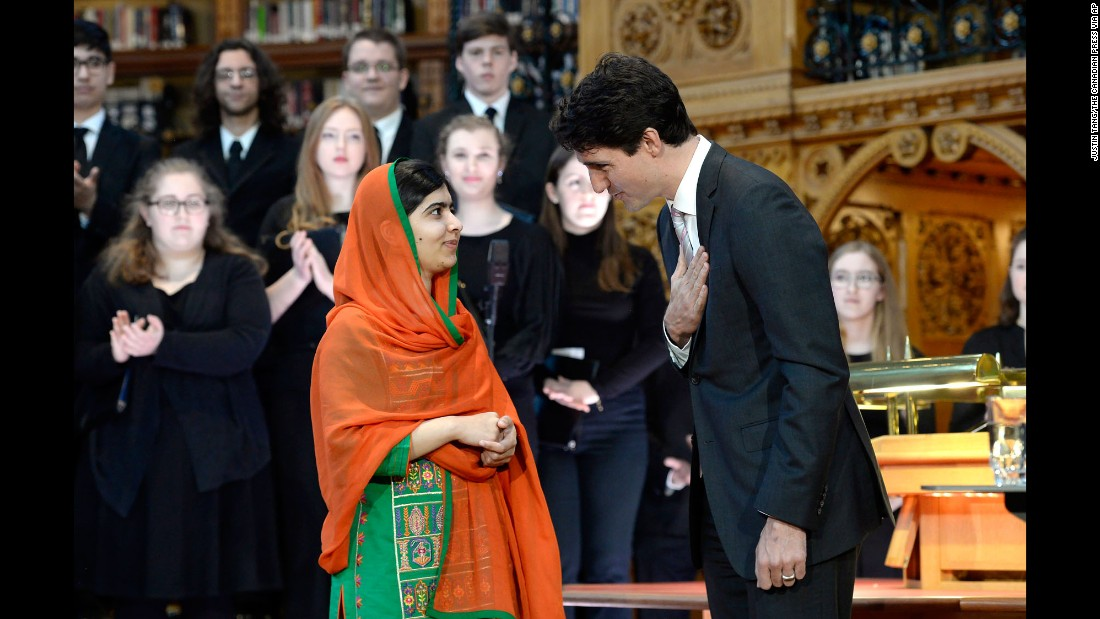 "Malala Yousafzai, a Pakistani activist and the youngest-ever winner of the Nobel Peace Prize, is presented with <a href=""http://www.cnn.com/2017/04/13/americas/malala-yousafzai-honorary-canadian-citizenship/"" target=""_blank"">an honorary Canadian citizenship</a> by Prime Minister Justin Trudeau on Wednesday, April 12. Yousafzai, 19, has been campaigning for girls' education since she was shot on her way home from school five years ago."