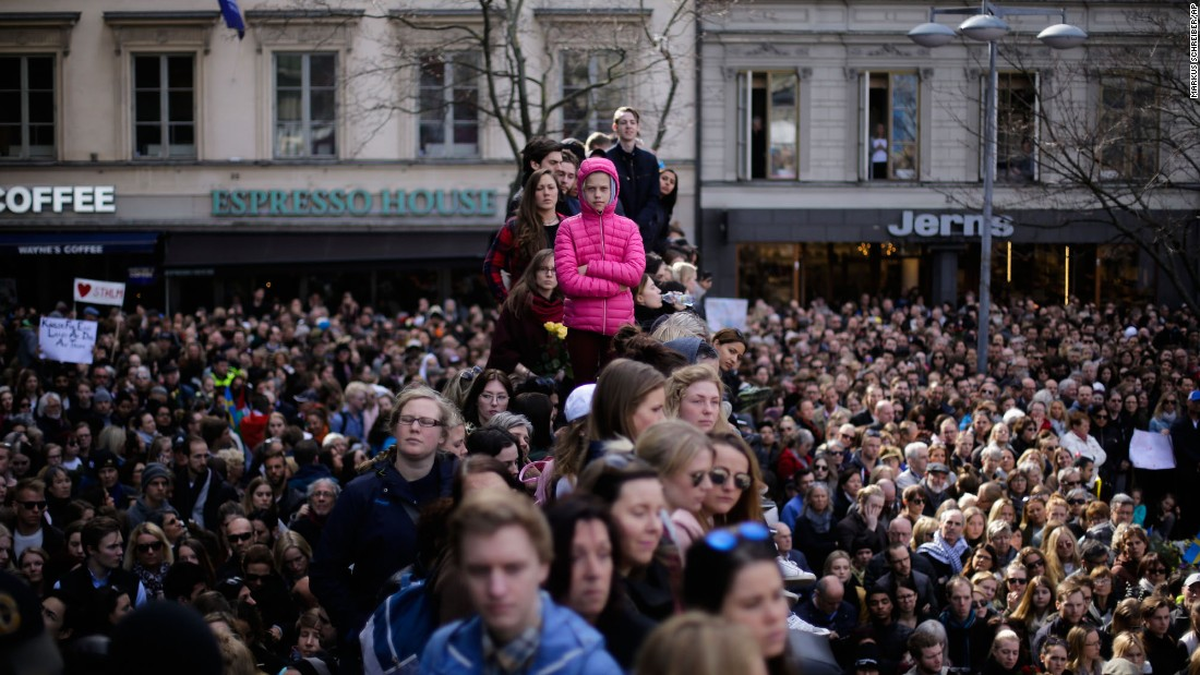 "Thousands of people unite against terrorism during a vigil in Stockholm, Sweden, on Sunday, April 9. Four people were killed in Stockholm after <a href=""http://www.cnn.com/2017/04/11/europe/stockholm-terror-attack-rakhmat-akilov/"" target=""_blank"">a truck rammed into pedestrians</a> on April 7. Authorities have called it a terror attack, and a suspect is in custody."