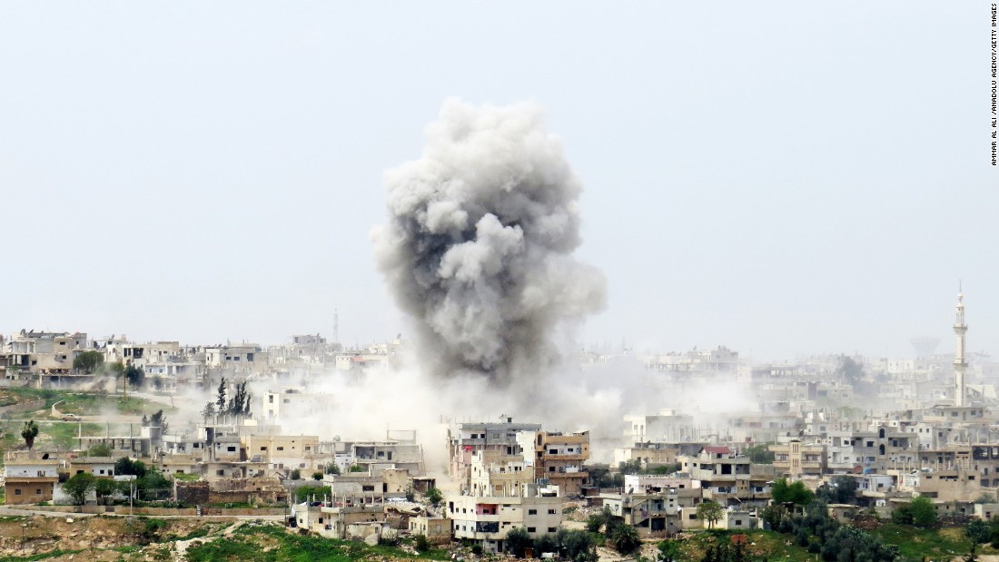 Smoke rises from Daraa, Syria, during fighting in the city on Monday, April 10. The Syrian civil war is in its sixth year.