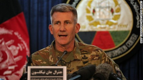 "The top US commander in Afghanistan John Nicholson speaks at a press conference in Kabul on April 14, 2017. Nicholson insisted it was the ""right weapon against the right target"". The US military's largest non-nuclear bomb killed at least 36 militants as it destroyed a deep tunnel complex of the Islamic State group, Afghan officials said April 14, ruling out any civilian casualties. / AFP PHOTO / AREF KARIMI        (Photo credit should read AREF KARIMI/AFP/Getty Images)"
