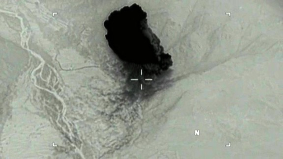 A screenshot from the US Department of Defense shows the MOAB bomb drop in Afghanistan.