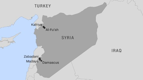 Syria: Thousands evacuated from besieged towns - CNN on map of syria homs, map of syria raqqa, map of syria damascus, map of syria deraa, map of syria idlib, map of syria palmyra, map of syria latakia,