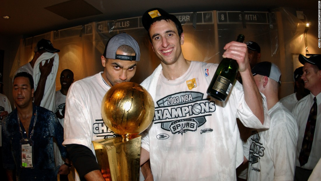 Tony Parker, left, and Manu Ginobili celebrate after the San Antonio Spurs won the 2003 NBA Finals. Both Parker and Ginobili were draft steals who came from outside of the United States. Ginobili, an Argentine, was taken 57th overall in 1999. Parker, a Frenchman, went 28th overall in 2001. The two have won four championships with San Antonio and are likely Hall of Famers.