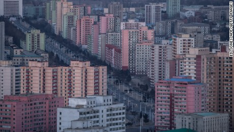 A photo taken on February 17, 2017 shows a general view of the north-eastern Pyongyang city skyline. / AFP / Ed JONES        (Photo credit should read ED JONES/AFP/Getty Images)