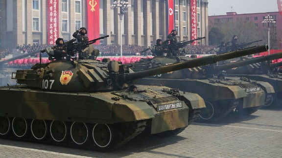 Soldiers in tanks take part in a military parade on Saturday, April 15, 2017, in Pyongyang, North Korea to celebrate the 105th birth anniversary of Kim Il Sung, the country's late founder and grandfather of current ruler Kim Jong Un. (AP Photo/Wong Maye-E)