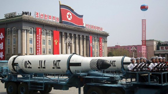 A submarine-launched ballistic missile is displayed during the parade.
