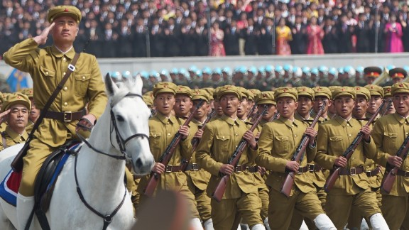 North Korean soldiers march on April 15, as the nation marks the birth of its founder, Kim Il Sung, who is also the grandfather of current leader Kim Jong Un.